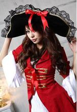 Halloween Costume role-playing Pirates of the Caribbean uniform nightclub red cosplay dress+hat fancy hot sexy apparel(China)