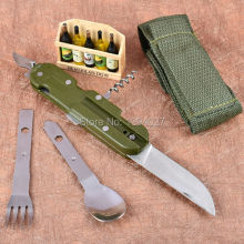 Hot sale stainless steel pocket knife fork scoop multi-function 5 in 1 folding tableware outdoor portable cutlery set 140mm