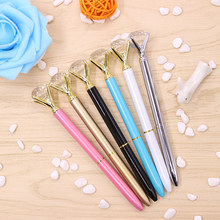 New 1pcs Crystal Ballpoint Pen Fashion Girl 19 Carat Large Diamond Metal Pen Material Escolar Escolares Kawaii Novelty(China)