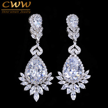 CWWZircons Elegent Evening Dinner Part Wedding Jewelry Luxury Long CZ Crystal Big Drop Dangle Earrings For Brides CZ055(China)