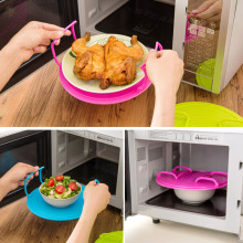 Multifunction Microwave Oven Shelf Plastic Double Layer Heating Serving Tray Bowl Rack Holder Kitchen Organizer Tool Accessories