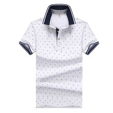 8dfb17dd42 Camisa POLO da marca Homens 2018 novo Impresso Camisas POLO 100% Algodão  Estande Casuais Colarinho
