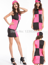 free shipping 2015 quanzhou walson hot sale Swinging 60s 70s Sixties Ladies Fancy Dress Costume Outfit with hat S M L XL 2XL