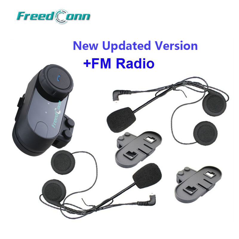 Bluetooth Intercom FreedConn TCOM-VB Motorcycle Intercom Hard Mic 1Pack 2-3Riders Pairing, 800M Waterproof Headset Communication System for Motorbike Riding Skiing