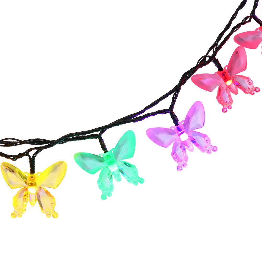 New 40 LEDs Waterproof Colorful Butterfly Garland Fairy Solar Outdoor Lights for Christmas Garden Decoration Solar Led Light(China (Mainland))