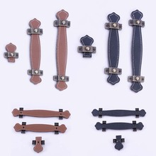 FGHGF Vintage Leather Hardware Zinc Alloy Single Hole/96/128mm Cabinet Knobs Pull Handles Brown Black Furniture Hardware