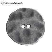 DoreenBeads Zinc Based Alloy Metal Sewing Buttons Irregular Antique Silver / Antique Pewter 2 Holes Round 20mm x 19mm, 10 PCs(China)