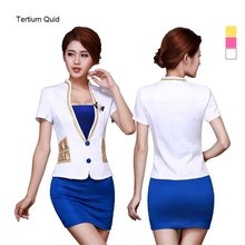 Airline Stewardess Uniform Women Clothing 2 Piece Set Receptionist Uniforms Sexy White Dress Suit 2016 Office Uniform Style(China)