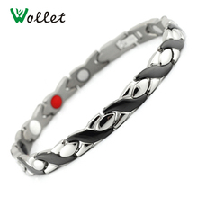 Wollet Jewelry 5mm Black Color Healing Energy Tourmaline Ions Magnetic Germanium Titanium Womens Bracelet(China)