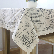 2015 New English Letter Vintage Crown Linen Table Cloth Coffee Side Table Towel Tablecloth Chic Home Decoration/Toalha De Mesa