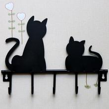 Black cat design Metal Iron Wall Door Mounted Rustic Clothes Coat hat key hanging Decorative Wall Hooks Robe Hanger
