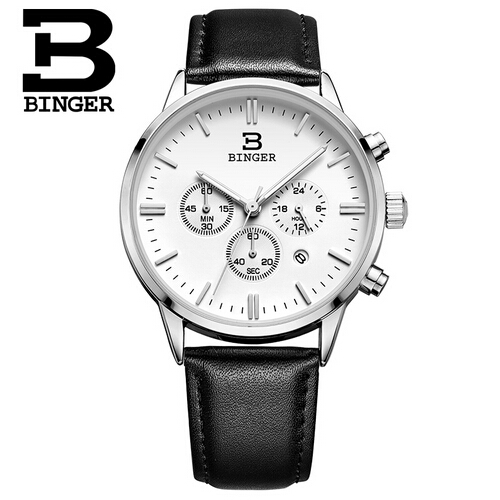 Switzerland Binger Men luxury Watch Man Chronograph Sport Watches Genuine Leather Mens Quartz Wristwatch relogio masculino<br>