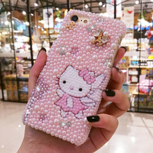 For iPhone 7 3D Bling Crystal Luxury Pearl Pink Hello Kitty Diamond case for iphone 6 6S 6Splus 7plus 8 8plus hard gift case(China)