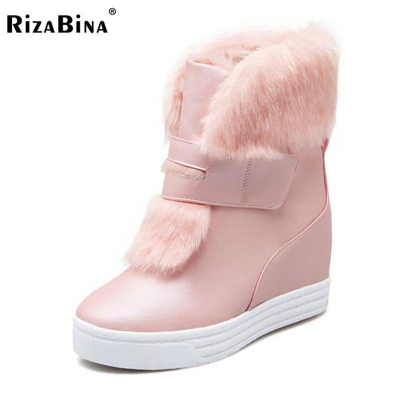 RizaBina Women Half Short Snow Boots Inside Heel High Wedges Boots Thick Fur Shoes Women Winter Boots Women Footwears Size 34-40<br>