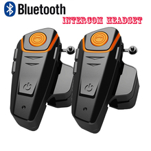 2 pcs Waterproof Motorcycle Moto Wireless Bluetooth Helmet Intercom Interphone Headset with FM Radio Helmet Headset for Rider(China)
