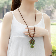 fashion ethnic stones vintgae chinese wind necklace,new art canary stone necklace,handmade bohemian antique brass necklace(China)