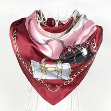 2015 Fashion Female Bag Pattern Satin Square Silk Scarf 90*90cm Brand Wine Red Polyester Silk Scarf Printed For Autumn Winter