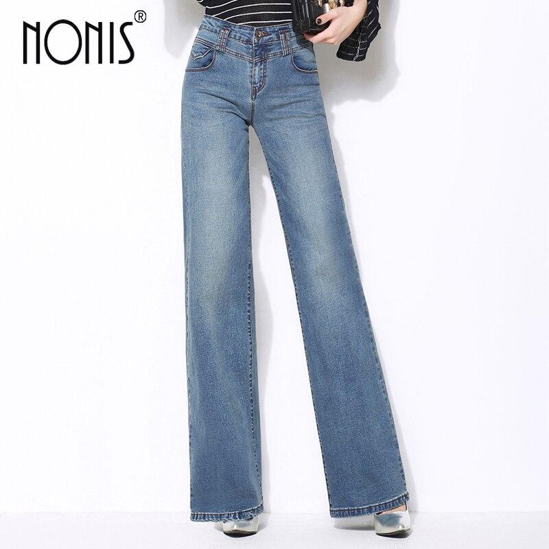 Nonis Plus Size 26-33 Women High Quality Wide Leg Jeans Ladies Fashion Full Length Big Straight Denim trousers Boot Cut PantsÎäåæäà è àêñåññóàðû<br><br>