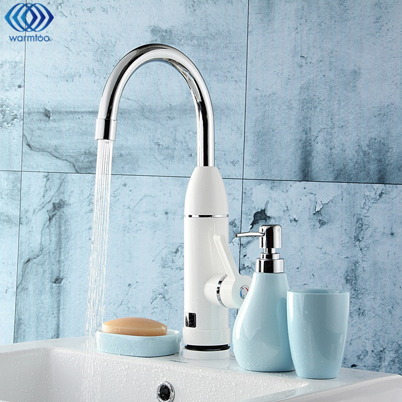 Water Heater Faucet Instant Electric LED Digital Display Heating Hot Cold Tap Deck Mounted 3000W 220V/50HZ Kitchen Bathroom<br>