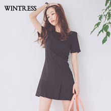 WINTRESS New Fashion Solid Short Dress Hot Sale O-Neck Patchwork Pleated Black Skinny Plus Size Casual Summer Women Dress K210M