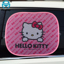 2PCS HELLOKITTY Car Windshield Car Sun Shade Cute Cartoon Pink Car Styling Rear Side Window Sunshade Protect Window Film(China)