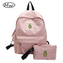 Moon Wood Women Pink Backpack Waterproof Fruit Pineapple Embroidery Backpack 2 PCS/Set High College School Students Shoulder Bag
