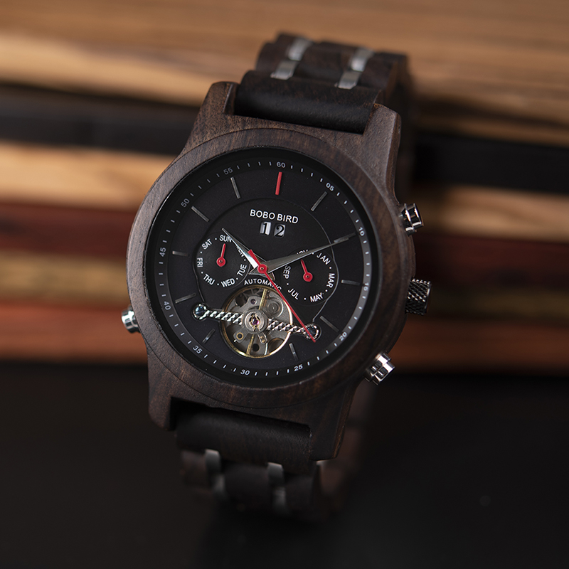 BOBO BIRD Automatic Mechanical Watches Men Wooden Luxury Watch with Calendar Display Multifuctions relogios automaticos mecanic 4