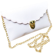 Ladies Handbag Imitation Leather Shoulder Bag Fashion Wallet Long Metal Chain Lady Handbag
