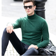 New Arrive Men Solid Cashmere Turtleneck Sweater Long-Sleeved Slim Leisure Cashmere Sweater Male Pullovers(China)