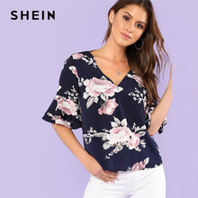 SHEIN Cut Back Flare Sleeve Floral Print Top Women Ruffle V Neck Half Sleeve Casual Blouse 2018 Summer Vacation Blouse
