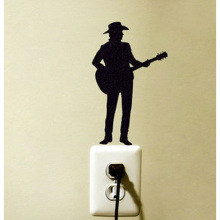 Country Music Guitar Fashion Vinyl Wall Switch Sticker Decoration Decal 5WS0055