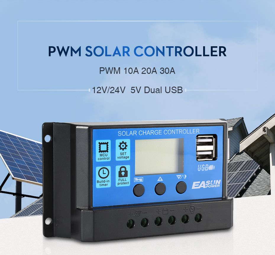 EASUN POWER Solar Controller 12V 24V 30A 20A 10A Solar Regulator PWM Solar Panel Battery Charger LCD Display Dual USB 5V Output DES-1