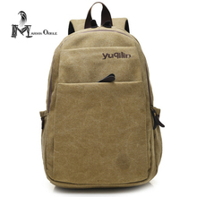 Men casual washed plain canvas bag backpack for travel black military canvas backpack