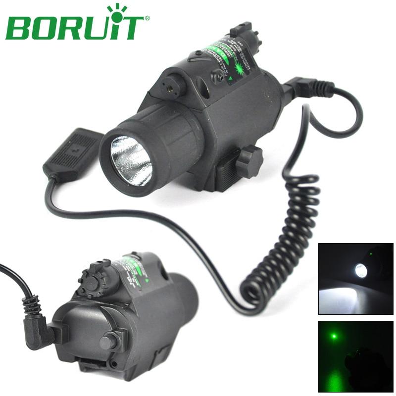 BORUiT 2 in 1 Tactical LED Flashlight Green Light Camping Hunting Lantern Portable Torch Light Lamp Mount for Pistol Gun<br>