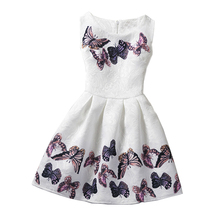 Girls Dresses For Girls Butterfly Floral Print Teenagers Dress Christmas Party Dress Casual Vestido Girls Summer Clothing 6-12Y