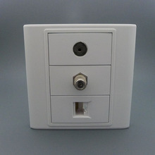 F head +TV and RJ45 network combine wall plate