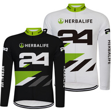 New Black and White HERBALIFE Men Cycling Jersey Long Sleeve Top Quality MTB Road Bike Clothes Cycling Wears Shirt Ropa Ciclismo(China)
