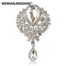WEIMANJINGDIAN Brand Large Crystal Diamante Rhinestones Teardrop Wedding Brooch Pins in Assorted Colors(China)