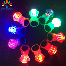 30pieces/lot Crystal Small Diamond Flashing Finger Ring Led Light Up Kids Finger Ring Toys for Birthday Wedding Party Favors(China)