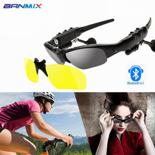 Sport Stereo Wireless Bluetooth Headset 3 colorful Sun lens Earphones Sunglasses mp3 Riding Glasses for lenovo sony xaomi xiomi(China)