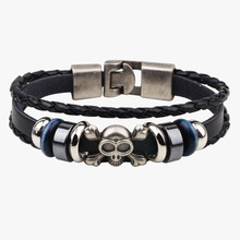 Fashion Stainless Steel Skull Wristband Jewelry Skull Leather Bracelet  Punk Male Accessories Wholesale