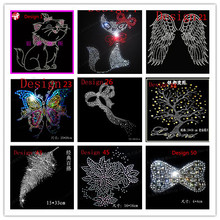 10 pcs Neckline Trim Carton Butterfly Bing Iron On Hot Fix Rhinestone Transfer Motif Appliques Rhinestone Sweat Transfer