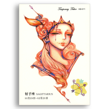 Glitter Fake Temporary tattoo laptop Stickers Water Transfer Waterproof Constellation Women Sagittarius Flower Arm Sexy Body Art(China)