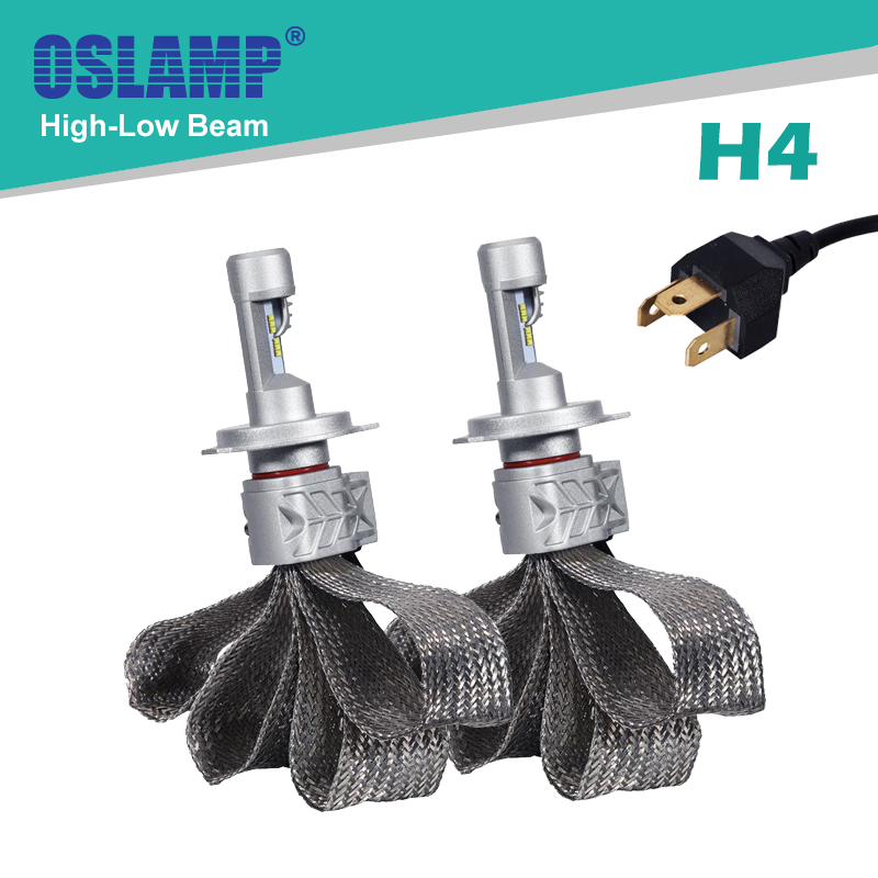 Oslamp High/Dipped Beam H4 Led Headlight Kits 6500K CREE CSP Chips Fanless Car Bulbs with Flexible Bottom Auto Head Lamps SUV<br><br>Aliexpress