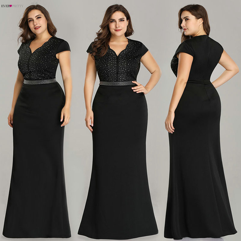 Plus Size Black Evening Gowns Ever Pretty EZ07623 2019 Elegant Mermaid Sparkle V Neck Beaded Long Formal Gowns For Wedding Party(China)