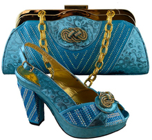 Latest Women Shoes and Bag Set In Italy Blue African Shoe and Bag Set Decorated with Appliques Italian Ladies Shoe and Bag Set