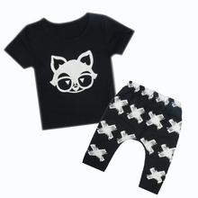 Two piece set Baby boy clothes Summer 2017 Long Sleeve Newborn Baby Outfits Cute Fox Head Infant Clothing Set Black Color XJ07