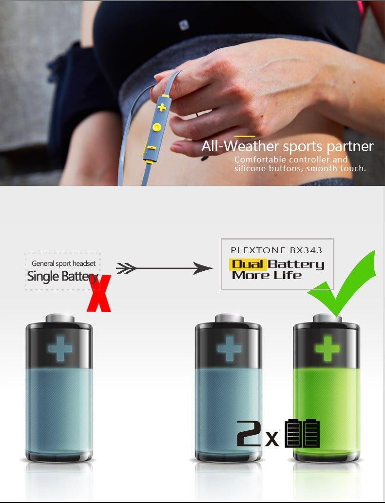 Plextone BX343 Wireless Sport Headphones Bluetooth IPX5 Waterproof Magnetic Headset Earphones With Microphone For Mobile Phone