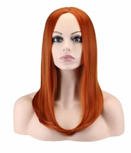 QQXCAIW Women Medium Long Straight Cosplay Dark Orange 50 Cm Synthetic Hair Wigs(China)