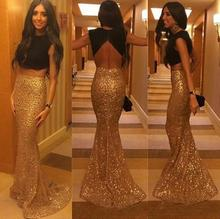 Sexy Plus Size Two Pieces Long Mermaid Sequins Gold And Black Long Prom Dresses New Brand Backless Gown